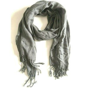 One Size Unisex Plain Solid Gray Scarf
